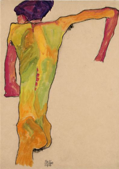 Schiele, Egon: Male Nude, Propping Himself Up. Fine Art Print/Poster. Sizes: A4/A3/A2/A1 (003690)